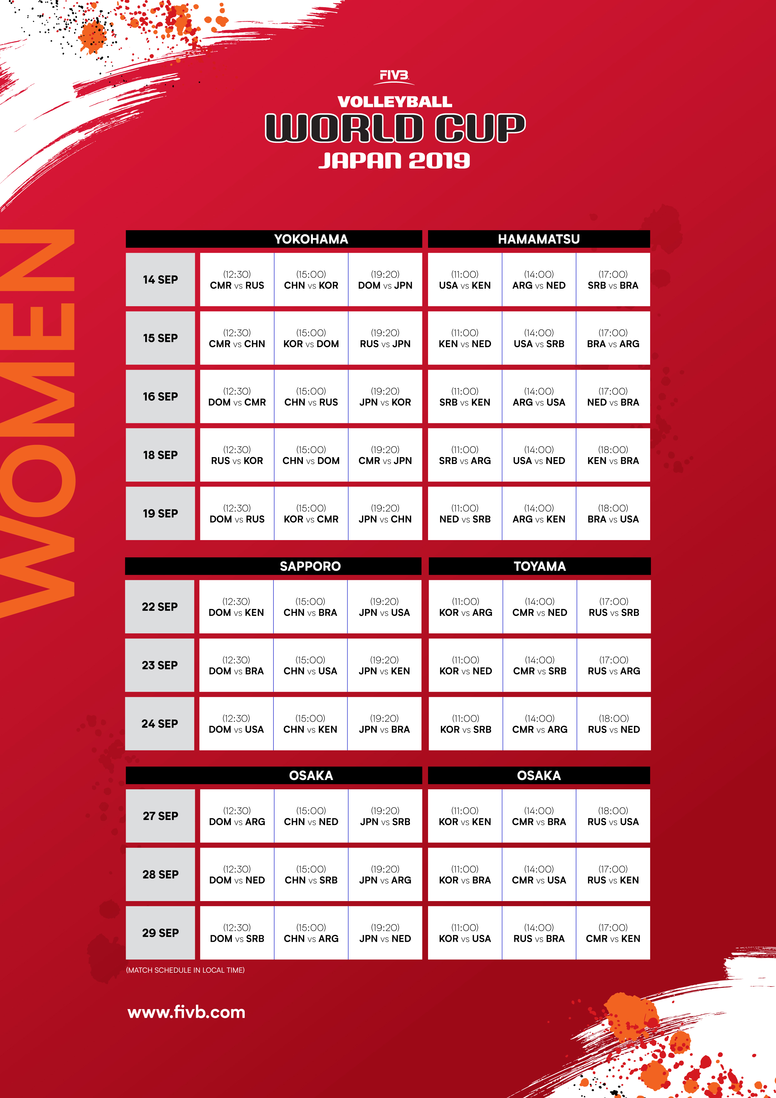 2019 FIVB WORLD CUP MATCH SCHEDULE CONFIRMED - Asian ...