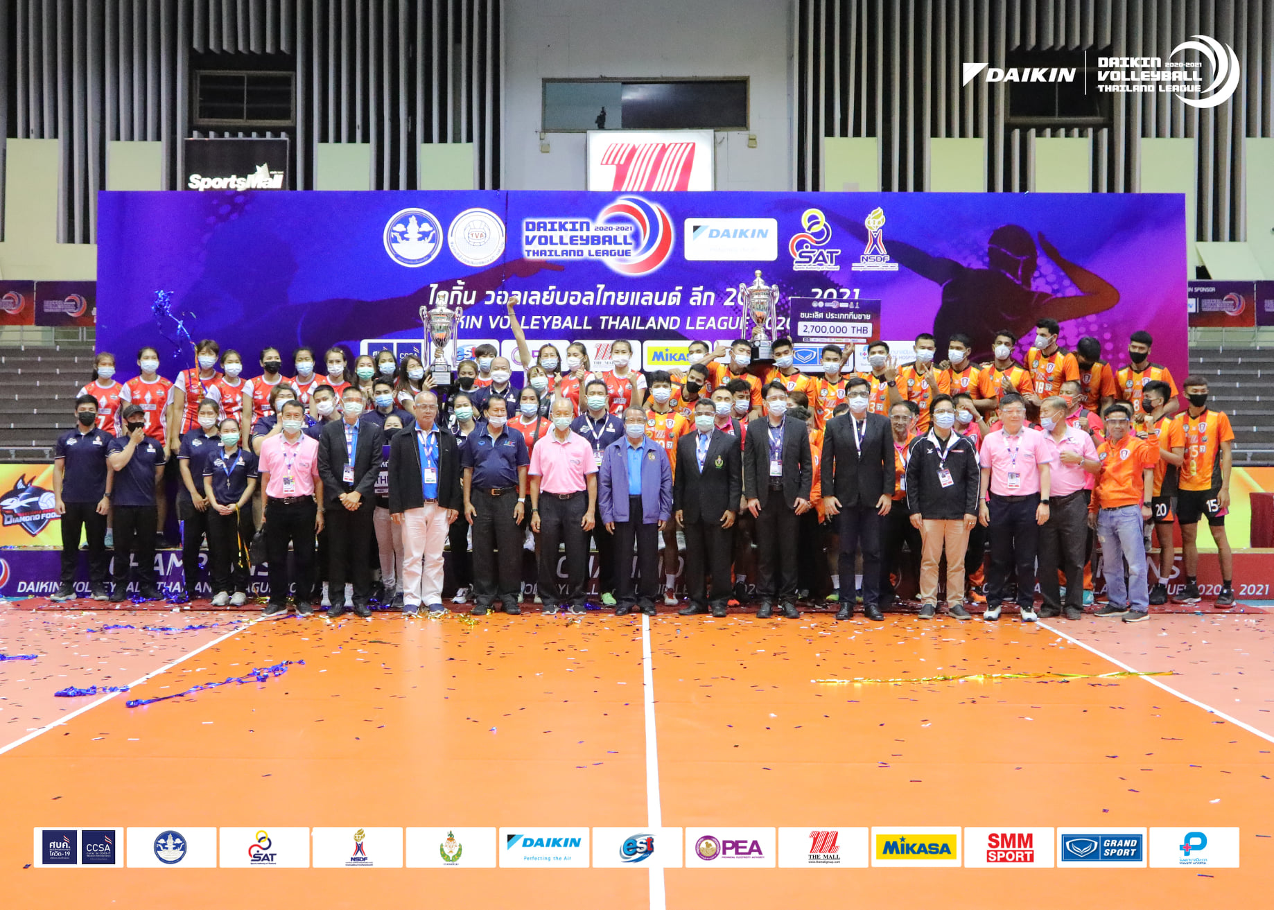 NAKHON RATCHASIMA RETAIN MEN'S TITLE, DIAMOND FOOD CAPTURE MAIDEN CROWN IN VOLLEYBALL THAILAND LEAGUE 2020-2021