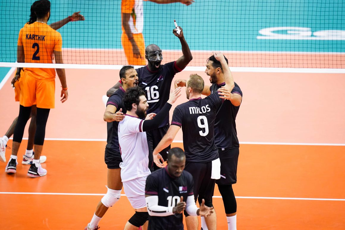 QATAR CAPTURE FIRST WIN WITH STRAIGHT SETS ON INDIA
