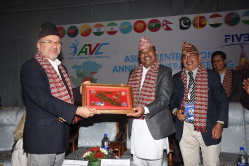AVC CZ president receiving token of love from Sports Minister of Nepal